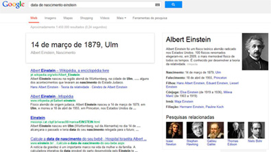 Data nascimento Einstein Google Knowledge Graph