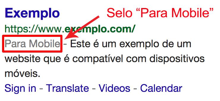 Resultado de busca do google com mensagem de que site está pronto para dispositivos móveis